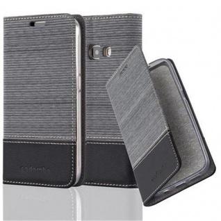 Cadorabo Hülle für Samsung Galaxy J1 2016 in GRAU SCHWARZ - Handyhülle mit Magnetverschluss, Standfunktion und Kartenfach - Case Cover Schutzhülle Etui Tasche Book Klapp Style