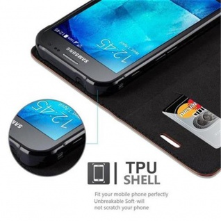Cadorabo Hülle für Samsung Galaxy XCover 3 in CAPPUCCINO BRAUN - Handyhülle mit Magnetverschluss, Standfunktion und Kartenfach - Case Cover Schutzhülle Etui Tasche Book Klapp Style - Vorschau 4