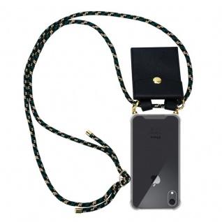 Cadorabo Handy Kette für Apple iPhone XR in CAMOUFLAGE ? Silikon Necklace Umhänge Hülle mit Gold Ringen, Kordel Band Schnur und abnehmbarem Etui ? Schutzhülle