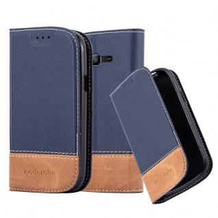 Cadorabo Hülle für Samsung Galaxy TREND LITE in BLAU BRAUN ? Handyhülle mit Magnetverschluss, Standfunktion und Kartenfach ? Case Cover Schutzhülle Etui Tasche Book Klapp Style