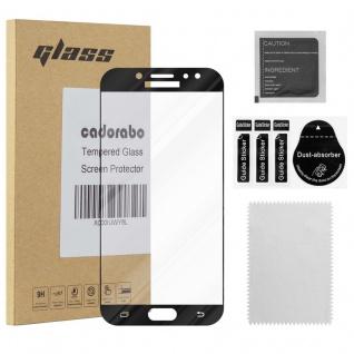 Cadorabo Vollbild Panzer Folie für Samsung Galaxy J7 2018 - Schutzfolie in TRANSPARENT mit SCHWARZ - Gehärtetes (Tempered) Display-Schutzglas in 9H Härte mit 3D Touch Kompatibilität