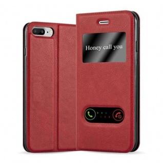 Cadorabo Hülle für Apple iPhone 8 PLUS / iPhone 7 PLUS / iPhone 7S PLUS in SAFRAN ROT - Handyhülle mit Magnetverschluss, Standfunktion und 2 Sichtfenstern - Case Cover Schutzhülle Etui Tasche Book Klapp Style