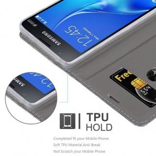 Cadorabo Hülle für Samsung Galaxy J1 MINI 2016 in GRAU SCHWARZ - Handyhülle mit Magnetverschluss, Standfunktion und Kartenfach - Case Cover Schutzhülle Etui Tasche Book Klapp Style - Vorschau 2