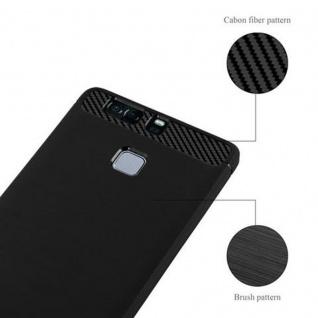 Cadorabo Hülle für Huawei P9 - Hülle in BRUSHED SCHWARZ - Handyhülle aus TPU Silikon in Edelstahl-Karbonfaser Optik - Silikonhülle Schutzhülle Ultra Slim Soft Back Cover Case Bumper - Vorschau 2