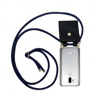 Cadorabo Handy Kette für LG G7 ThinQ in TIEF BLAU - Silikon Necklace Umhänge Hülle mit Gold Ringen, Kordel Band Schnur und abnehmbarem Etui ? Schutzhülle