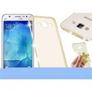 Cadorabo Hülle für Samsung Galaxy J5 - Hülle in TRANSPARENT GOLD - Handyhülle aus TPU Silikon im Strass Design - Silikonhülle Schutzhülle Ultra Slim Soft Back Cover Case Bumper