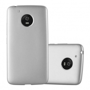 Cadorabo Hülle für Motorola MOTO G5 in METALLIC SILBER - Handyhülle aus flexiblem TPU Silikon - Silikonhülle Schutzhülle Ultra Slim Soft Back Cover Case Bumper