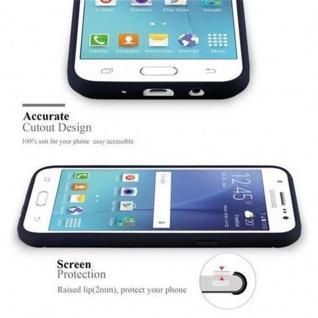 Cadorabo Hülle für Samsung Galaxy J7 2015 - Hülle in BRUSHED BLAU ? Handyhülle aus TPU Silikon in Edelstahl-Karbonfaser Optik - Silikonhülle Schutzhülle Ultra Slim Soft Back Cover Case Bumper - Vorschau 2