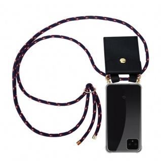 Cadorabo Handy Kette für Google Pixel 4 in BLAU ROT WEISS GEPUNKTET - Silikon Necklace Umhänge Hülle mit Gold Ringen, Kordel Band Schnur und abnehmbarem Etui ? Schutzhülle