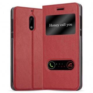 Cadorabo Hülle für Nokia 6 2017 in SAFRAN ROT - Handyhülle mit Magnetverschluss, Standfunktion und 2 Sichtfenstern - Case Cover Schutzhülle Etui Tasche Book Klapp Style