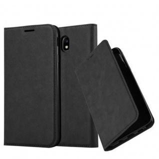 Cadorabo Hülle für Samsung Galaxy J3 2017 in NACHT SCHWARZ - Handyhülle mit Magnetverschluss, Standfunktion und Kartenfach - Case Cover Schutzhülle Etui Tasche Book Klapp Style