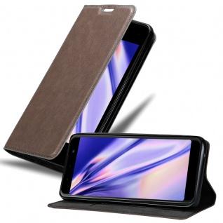 Cadorabo Hülle für WIKO LENNY 5 in KAFFEE BRAUN - Handyhülle mit Magnetverschluss, Standfunktion und Kartenfach - Case Cover Schutzhülle Etui Tasche Book Klapp Style