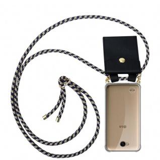 Cadorabo Handy Kette für LG X Power 2 in DUNKELBLAU GELB - Silikon Necklace Umhänge Hülle mit Gold Ringen, Kordel Band Schnur und abnehmbarem Etui ? Schutzhülle