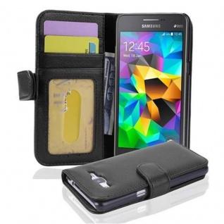 Cadorabo Hülle für Samsung Galaxy GRAND PRIME in OXID SCHWARZ ? Handyhülle mit Magnetverschluss und 3 Kartenfächern ? Case Cover Schutzhülle Etui Tasche Book Klapp Style