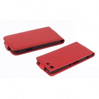 Cadorabo Hülle für Sony Xperia M5 in INFERNO ROT - Handyhülle im Flip Design aus strukturiertem Kunstleder - Case Cover Schutzhülle Etui Tasche Book Klapp Style - Vorschau 3