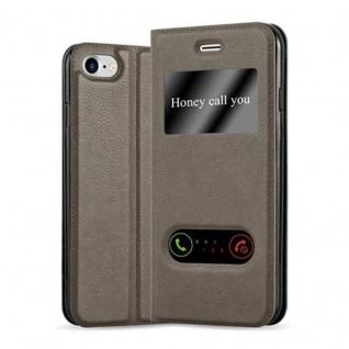 Cadorabo Hülle für Apple iPhone 7 / iPhone 7S / iPhone 8 in STEIN BRAUN - Handyhülle mit Magnetverschluss, Standfunktion und 2 Sichtfenstern - Case Cover Schutzhülle Etui Tasche Book Klapp Style
