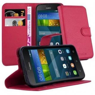 Cadorabo Hülle für Huawei Y5 2015 / Y5C / Y541 / Y540 / Y520 in KARMIN ROT - Handyhülle mit Magnetverschluss, Standfunktion und Kartenfach - Case Cover Schutzhülle Etui Tasche Book Klapp Style