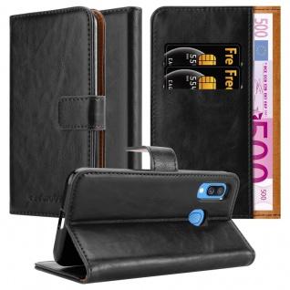 Cadorabo Hülle für Samsung Galaxy A40 in GRAPHIT SCHWARZ Handyhülle mit Magnetverschluss, Standfunktion und Kartenfach Case Cover Schutzhülle Etui Tasche Book Klapp Style