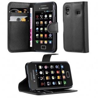 Cadorabo Hülle für Samsung Galaxy ACE 1 in PHANTOM SCHWARZ - Handyhülle mit Magnetverschluss, Standfunktion und Kartenfach - Case Cover Schutzhülle Etui Tasche Book Klapp Style
