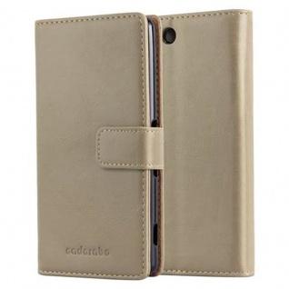 Cadorabo Hülle für Sony Xperia M5 in CAPPUCINO BRAUN - Handyhülle mit Magnetverschluss, Standfunktion und Kartenfach - Case Cover Schutzhülle Etui Tasche Book Klapp Style