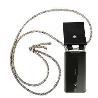 Cadorabo Handy Kette für Nokia 3 2017 in RAINBOW Silikon Necklace Umhänge Hülle mit Silber Ringen, Kordel Band Schnur und abnehmbarem Etui Schutzhülle
