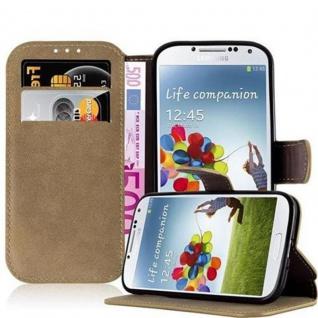 Cadorabo Hülle für Samsung Galaxy S4 - Hülle in MATT SAND BRAUN - Handyhülle mit Standfunktion und Kartenfach im Retro Design - Case Cover Schutzhülle Etui Tasche Book Klapp Style