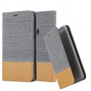 Cadorabo Hülle für WIKO VIEW 2 PRO in HELL GRAU BRAUN Handyhülle mit Magnetverschluss, Standfunktion und Kartenfach Case Cover Schutzhülle Etui Tasche Book Klapp Style