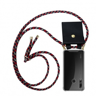 Cadorabo Handy Kette für Huawei P SMART PLUS 2019 in ROT BLAU GELB Silikon Necklace Umhänge Hülle mit Gold Ringen, Kordel Band Schnur und abnehmbarem Etui Schutzhülle