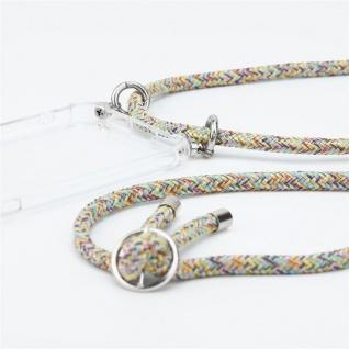 Cadorabo Handy Kette für Huawei MATE 30 in RAINBOW Silikon Necklace Umhänge Hülle mit Silber Ringen, Kordel Band Schnur und abnehmbarem Etui Schutzhülle - Vorschau 3