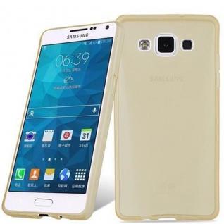 Cadorabo Hülle für Samsung Galaxy A5 2015 in TRANSPARENT GOLD - Handyhülle aus flexiblem TPU Silikon - Silikonhülle Schutzhülle Ultra Slim Soft Back Cover Case Bumper - Vorschau 3