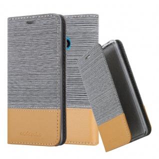 Cadorabo Hülle für Nokia Lumia 530 in HELL GRAU BRAUN - Handyhülle mit Magnetverschluss, Standfunktion und Kartenfach - Case Cover Schutzhülle Etui Tasche Book Klapp Style
