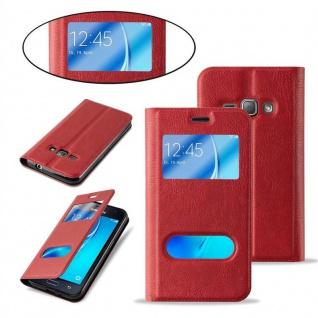 Cadorabo Hülle für Samsung Galaxy J1 2016 in SAFRAN ROT ? Handyhülle mit Magnetverschluss, Standfunktion und 2 Sichtfenstern ? Case Cover Schutzhülle Etui Tasche Book Klapp Style - Vorschau 5