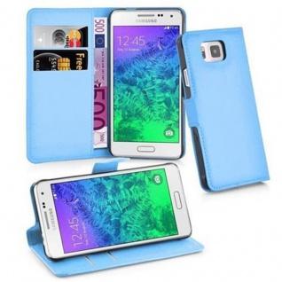 Cadorabo Hülle für Samsung Galaxy ALPHA in PASTEL BLAU Handyhülle mit Magnetverschluss, Standfunktion und Kartenfach Case Cover Schutzhülle Etui Tasche Book Klapp Style