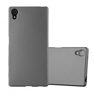 Cadorabo Hülle für Sony Xperia Z5 - Hülle in METALLIC GRAU ? Handyhülle aus TPU Silikon im Matt Metallic Design - Ultra Slim Soft Backcover Case Bumper