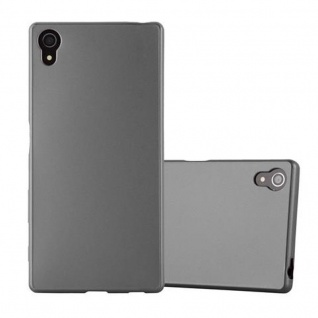 Cadorabo Hülle für Sony Xperia Z5 in METALLIC GRAU - Handyhülle aus flexiblem TPU Silikon - Silikonhülle Schutzhülle Ultra Slim Soft Back Cover Case Bumper