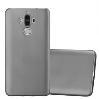 Cadorabo Hülle für Huawei MATE 9 in METALLIC GRAU - Handyhülle aus flexiblem TPU Silikon - Silikonhülle Schutzhülle Ultra Slim Soft Back Cover Case Bumper