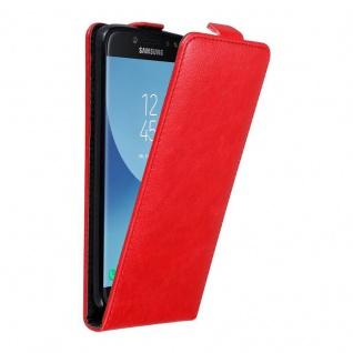 Cadorabo Hülle für Samsung Galaxy J7 2017 in APFEL ROT Handyhülle im Flip Design mit unsichtbarem Magnetverschluss Case Cover Schutzhülle Etui Tasche Book Klapp Style