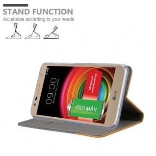 Cadorabo Hülle für LG X POWER 2 in HELL GRAU BRAUN - Handyhülle mit Magnetverschluss, Standfunktion und Kartenfach - Case Cover Schutzhülle Etui Tasche Book Klapp Style - Vorschau 4