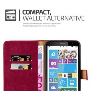 Cadorabo Hülle für Nokia Lumia 1320 in WEIN ROT - Handyhülle mit Magnetverschluss, Standfunktion und Kartenfach - Case Cover Schutzhülle Etui Tasche Book Klapp Style - Vorschau 3