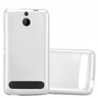Cadorabo Hülle für Sony Xperia E1 in METALLIC SILBER - Handyhülle aus flexiblem TPU Silikon - Silikonhülle Schutzhülle Ultra Slim Soft Back Cover Case Bumper