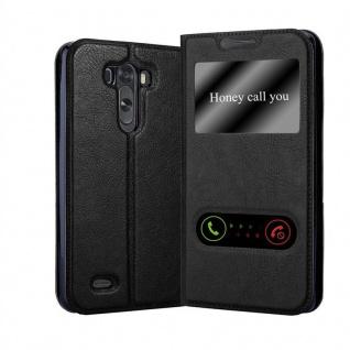 Cadorabo Hülle für LG G3 in KOMETEN SCHWARZ ? Handyhülle mit Magnetverschluss, Standfunktion und 2 Sichtfenstern ? Case Cover Schutzhülle Etui Tasche Book Klapp Style