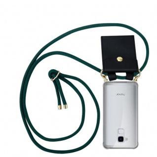 Cadorabo Handy Kette für Honor 5C in ARMEE GRÜN Silikon Necklace Umhänge Hülle mit Gold Ringen, Kordel Band Schnur und abnehmbarem Etui Schutzhülle