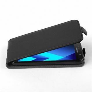 Cadorabo Hülle für Samsung Galaxy A3 2017 in OXID SCHWARZ Handyhülle im Flip Design aus strukturiertem Kunstleder Case Cover Schutzhülle Etui Tasche Book Klapp Style