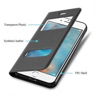 Cadorabo Hülle für Apple iPhone 8 PLUS / iPhone 7 PLUS / iPhone 7S PLUS in KOMETEN SCHWARZ - Handyhülle mit Magnetverschluss, Standfunktion und 2 Sichtfenstern - Case Cover Schutzhülle Etui Tasche Book Klapp Style - Vorschau 3
