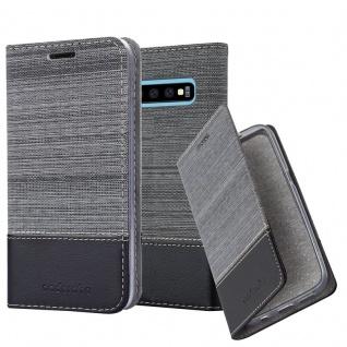 Cadorabo Hülle für Samsung Galaxy S10 in GRAU SCHWARZ - Handyhülle mit Magnetverschluss, Standfunktion und Kartenfach - Case Cover Schutzhülle Etui Tasche Book Klapp Style