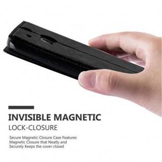 Cadorabo Hülle für HTC One M8 in NACHT SCHWARZ - Handyhülle mit Magnetverschluss, Standfunktion und Kartenfach - Case Cover Schutzhülle Etui Tasche Book Klapp Style - Vorschau 5