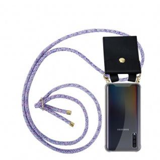 Cadorabo Handy Kette für Samsung Galaxy A50 in UNICORN Silikon Necklace Umhänge Hülle mit Gold Ringen, Kordel Band Schnur und abnehmbarem Etui Schutzhülle