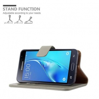 Cadorabo Hülle für Samsung Galaxy J3 2016 in CAPPUCCINO BRAUN ? Handyhülle mit Magnetverschluss, Standfunktion und Kartenfach ? Case Cover Schutzhülle Etui Tasche Book Klapp Style - Vorschau 5
