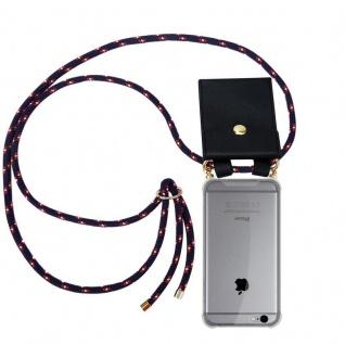 Cadorabo Handy Kette für Apple iPhone 6 PLUS / iPhone 6S PLUS in BLAU ROT WEISS GEPUNKTET - Silikon Necklace Umhänge Hülle mit Gold Ringen, Kordel Band Schnur und abnehmbarem Etui ? Schutzhülle
