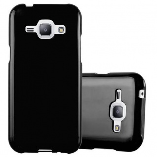 Cadorabo Hülle für Samsung Galaxy J1 2015 in JELLY SCHWARZ - Handyhülle aus flexiblem TPU Silikon - Silikonhülle Schutzhülle Ultra Slim Soft Back Cover Case Bumper
